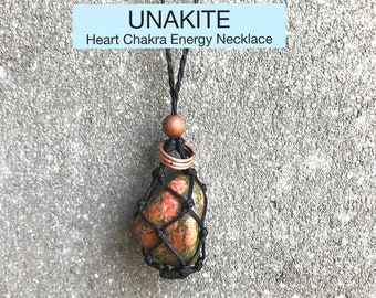 Unakite Heart Chakra Energy Healing Necklace