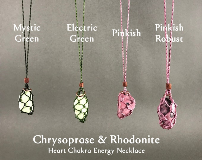 Chrysoprase or Rhodonite Heart Chakra Energy Necklace