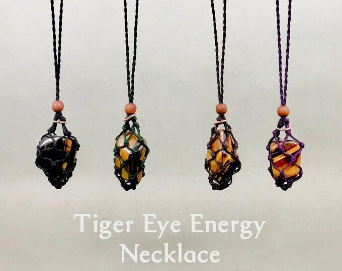Tiger Eye Solar Plexus Chakra Energy Healing Necklace