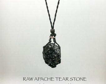 Raw Apache Tear Root Chakra Energy Necklace