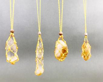 Citrine Solar Plexus Chakra Energy Healing Necklace w/ Quartz Crystal Point
