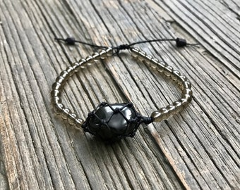 Apache Tear Chakra Energy Bracelet with Smoky Quartz Beads
