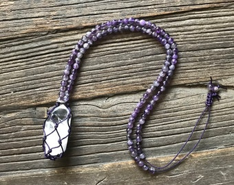Energy Healing Necklace with Amethyst and Quartz Point