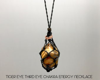 Tiger Eye Third Eye Chakra Energy Necklace
