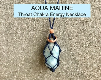 Aqua Marine (Blue Beryl)  Throat Chakra Energy Healing Necklace