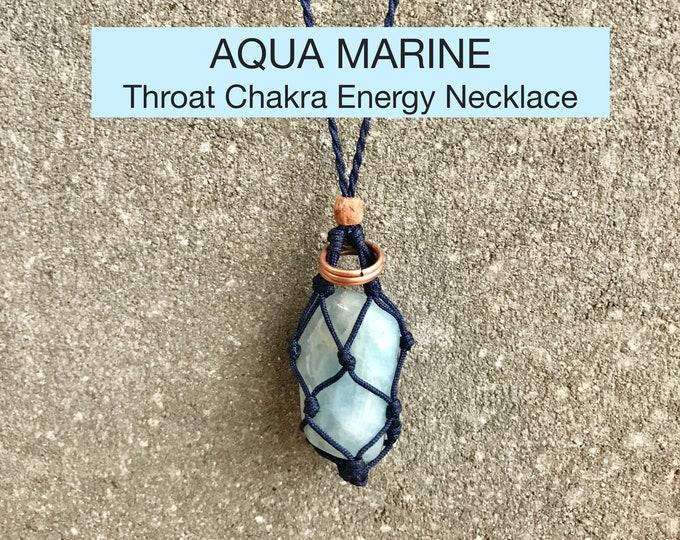 Aqua Marine (Blue Beryl)  Throat Chakra Energy Healing Necklace