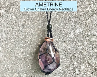Ametrine Crown Chakra Energy Healing Necklace