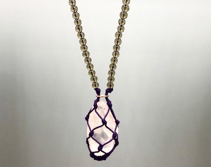Rose Quartz Heart Chakra Energy Necklace