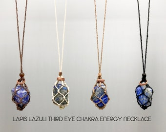 Lapis Lazuli Third Eye Chakra Energy Healing Necklace