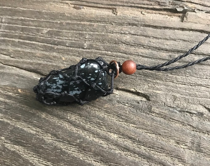 Snowflake Obsidian Energy Healing Necklace