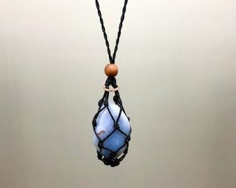 Fancy Blue Chalcedony Energy Healing Necklace