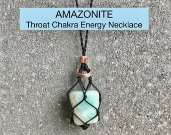 AMAZONITE Throat Chakra Energy Healing Necklace