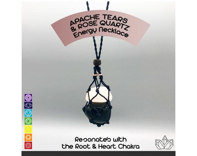 Apache Tears and Rose Quartz Energy Healing Necklace