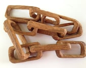 Hand Carved Wooden Chain - Carved From Solid Piece of Wood - Whittled Wood - Folk Art - Solid Wood Chain - Primitive Conversation Piece