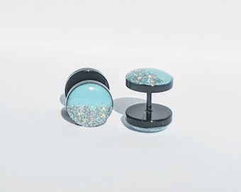 Two Tone Baby Blue and Silver Fake Plugs