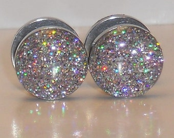 Rainbow Silver with a Hint of Pink Glitter Fake Plugs