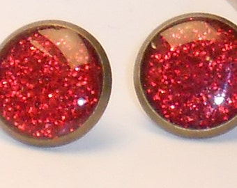 Sweetheart Red Glitter 10mm Post Earrings