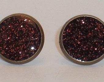 Bronzed Brown Glitter 10mm Post Earrings, Fake Plugs