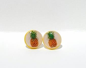 FREE SHIP till V-Day Sparkling Pineapples Post Earrings