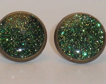 All Shades of Green Glitter 10mm Post Earrings