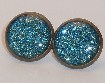 Light Blue Glitter 10mm Post Earrings
