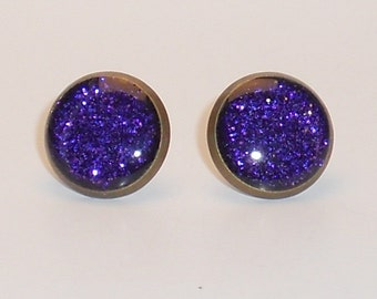 Dark Purple Glitter 10mm Post Earrings