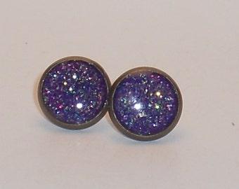 Mermaid Purple, Glitter 10mm Post Earrings, Fake Plugs