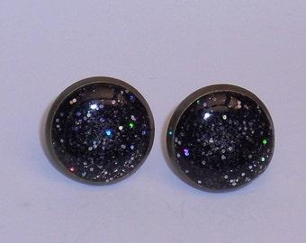 Space Black Glitter 10mm Post Earrings