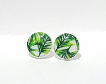 Palm Leaves Post Earrings Palm Tree Earrings Summer Earrings Stud Earrings Beach Earrings