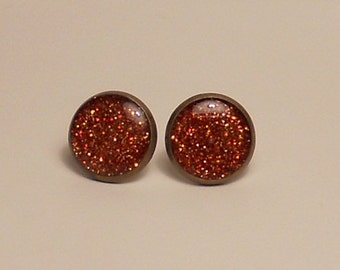 Burnt Orange Glitter 12mm Post Earrings