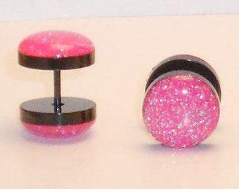 Neon Pink Glitter Fake Plugs