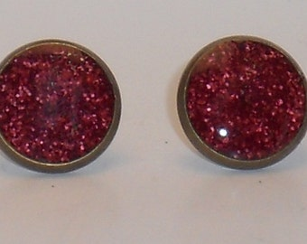 Valentines Day Red Glitter 10mm Post Earrings