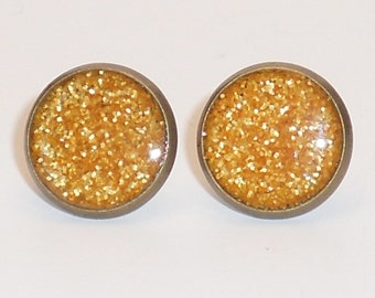 Velvet Yellow Glitter 10mm Post Earrings