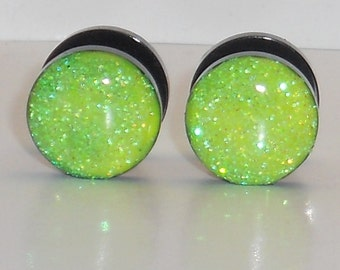 Neon Yellow Glitter Fake Plugs