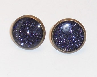 Saphire Blue Skies Glitter 10mm Post Earrings