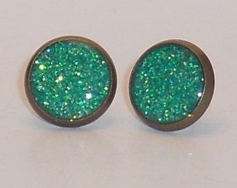 Mermaid Green Glitter 10mm Post Earrings, Fake Plugs