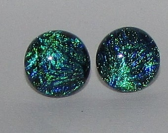 Blue and Green Swirl Dichroic Glass Post Earrings