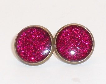 Watermelon Pink Glitter 10mm Post Earrings