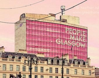 People Make Glasgow Building - Wall Decor - Fine Art Photography Print, Scottish, Glasgow Pride, Contemporary, Scotland, Glaswegian, Pink