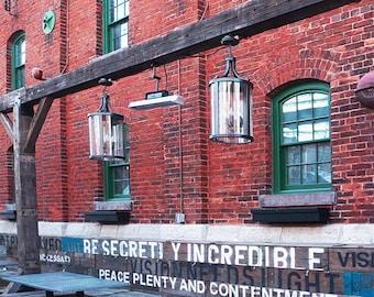 Secretly Incredible Red Bricks Green Window - Wall Decor - Fine Art Photography Print - Red, Brick, Rustic, Toronto, Distillery District