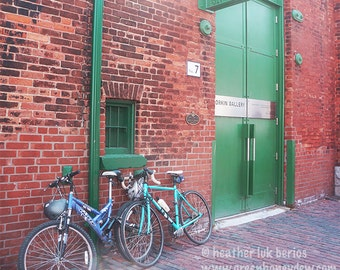 Toronto Corkin Gallery - Wall Decor - Fine Art Photography Print - Red, Brick, Rustic, Bicycles, Green Door, Historic, Distillery District