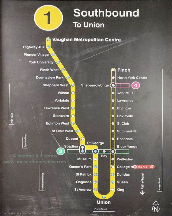 Toronto Ttc Station Subway Map Yonge Line Photography Wall Decor Art Photography Print Canada Metro Subway Ttc Underground Metro