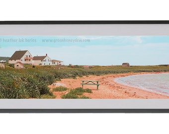 Romantic Panoramic Photography - Wall Decor - Fine Art Photography Print - Red Sand, Grassy, Seaside, Beautiful Landscape