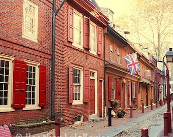 Elfreth's Alley - Wall Decor - Fine Art Photography Print - Red Brick Houses, Yellow, Philadelphia