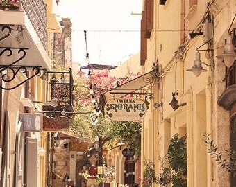 Beautiful Photography - Wall Decor - Fine Art Photography Print - Greece, Yellow, Neutral, Cafe