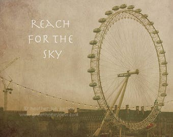 Ferris Wheel Quote Photography - Inspirational Saying Phrase Word Wall Decor - Fine Art Photography Print Weathered Old Beautiful Square