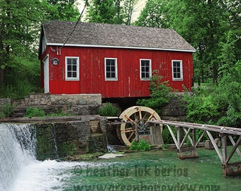 Morningstar Mill - Canada Photography - Decew Falls - Nature Wall Decor - Canadian Fine Art Print, Green, Red, House, Teal