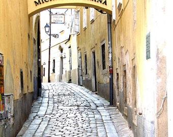 Bratislava Slovakia Photography - Yellow Alley - Wall Decor - Art Print
