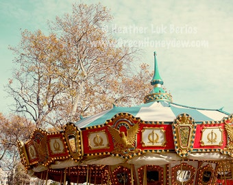 Carousel - Wall Decor - Fine Art Photography Print - Red, Teal, Carnival, Philadelphia, Franklin Square
