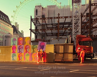 London Photography - Wall Decor - Fine Art Photography Print - Construction Worker Crew, Contemporary Modern Art